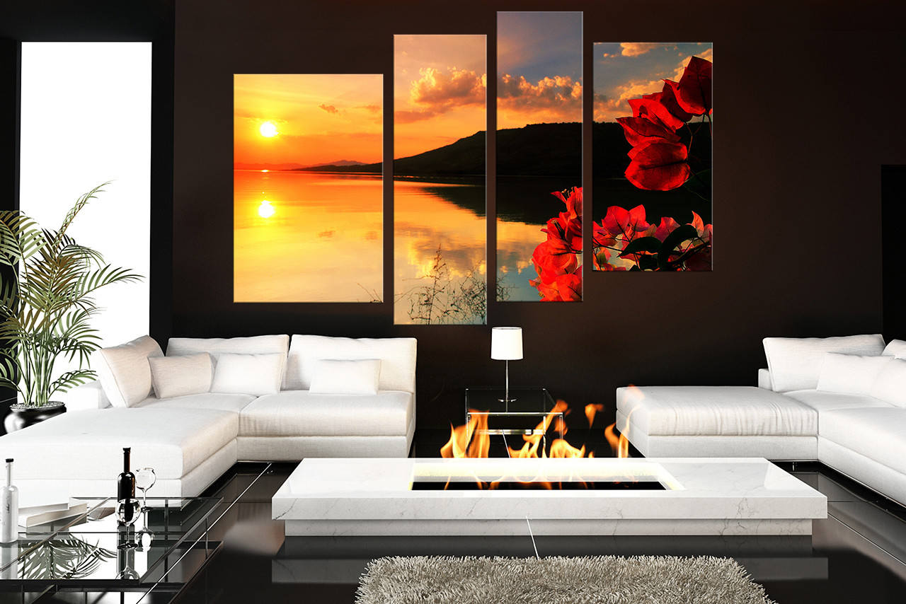 4 Piece Canvas Wall Art, Living Room Art, Floral Decor, Ocean Pictures,