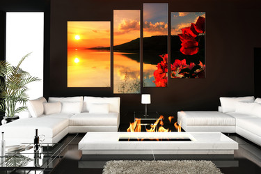 4 piece canvas wall art, living room art, floral decor, ocean pictures, ocean group canvas