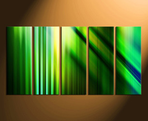 5 piece canvas wall art, green wall art, modern wall decor, green canvas print, modern home decor