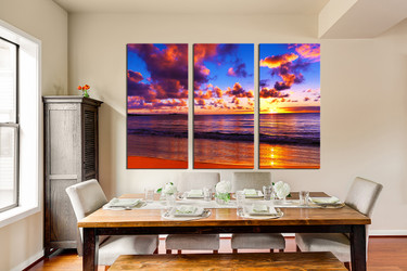 3 piece huge pictures, dining room multi panel art, colorful ocean group canvas, sunset wall art, sea canvas print