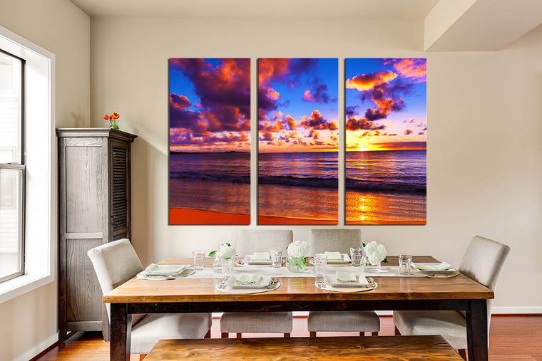 3 piece wall art colorful huge canvas print ocean multi. Black Bedroom Furniture Sets. Home Design Ideas