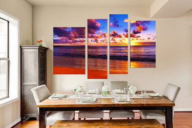 4 piece canvas wall art, dining room canvas print, colorful ocean huge pictures, sunset large canvas