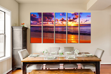 5 piece canvas wall art, dining room huge pictures, ocean multi panel art, colorful cloud group canvas