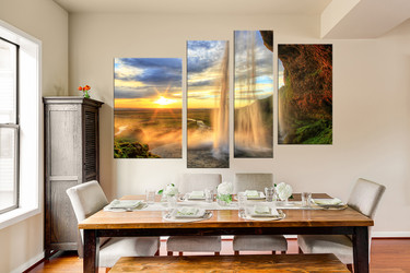 4 piece photo canvas, dining room group canvas, landscape huge canvas art, yellow art, sunrise canvas print, waterfall canvas art prints
