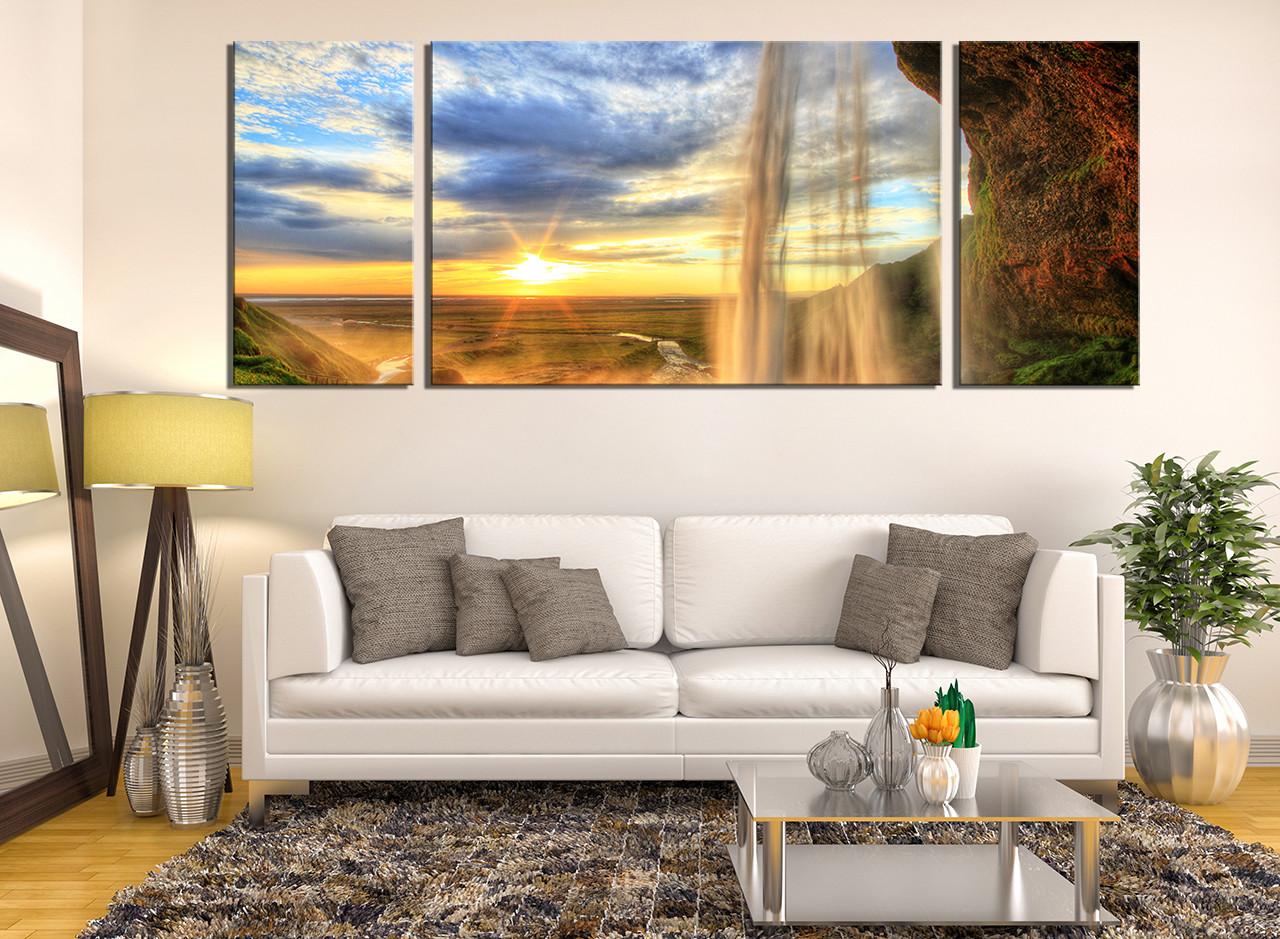 3 Piece Photo Canvas, Landscape Artwork, Yellow Huge Pictures ...