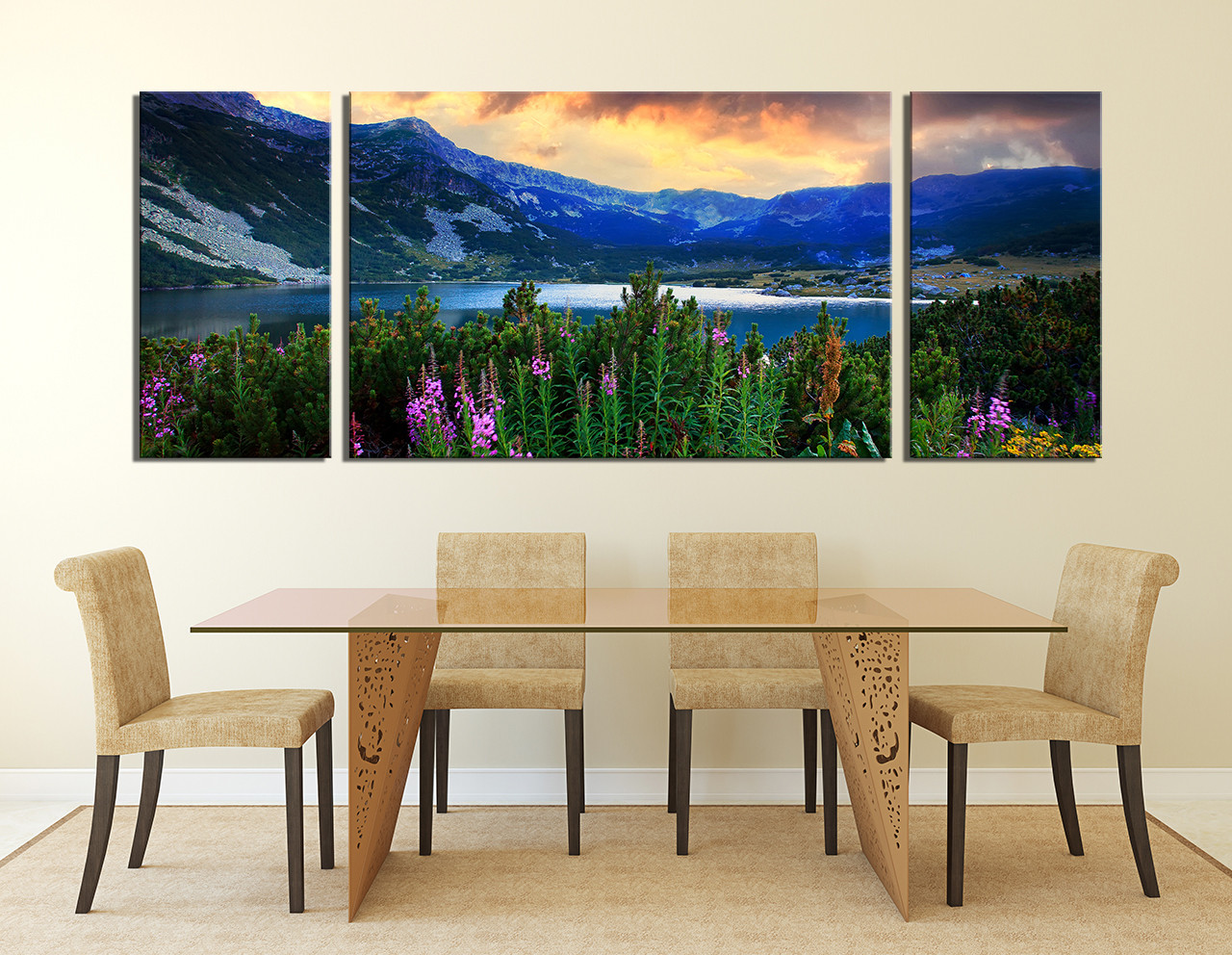 Wonderful 3 Piece Wall Art, Landscape Wall Decor, Blue Huge Canvas Print  KI82
