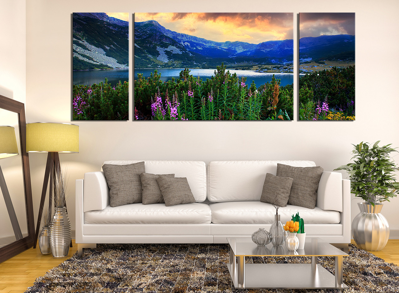 3 Piece Canvas Photography Living Room Group Landscape Huge Pictures Blue Wall