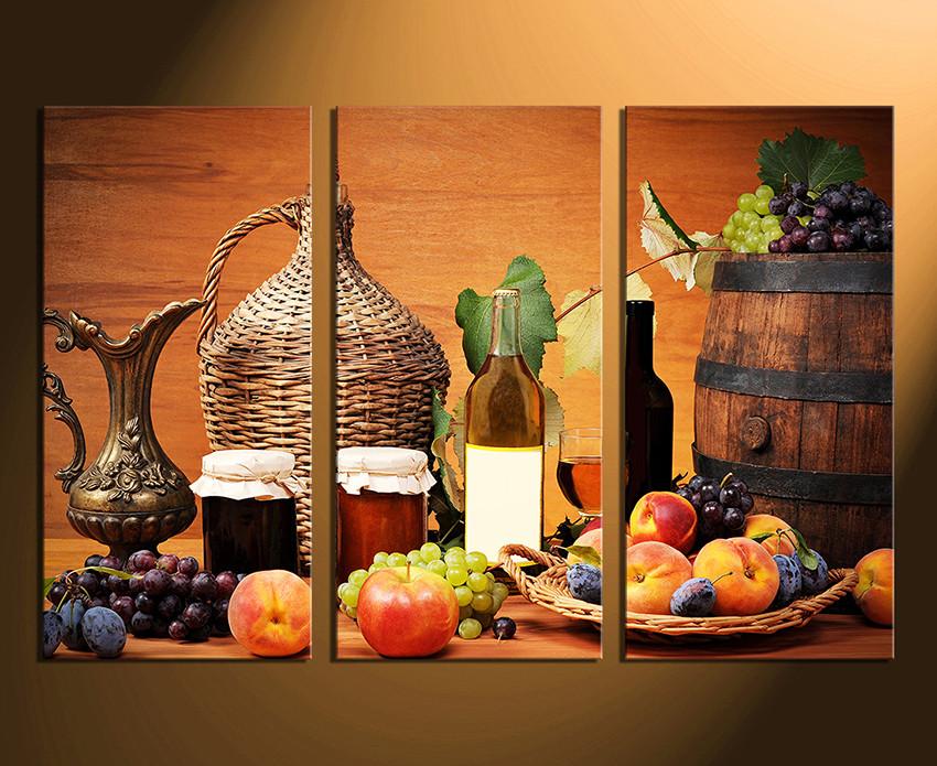 3 Piece Photo Canvas, Fruits Canvas Wall Art, Wine Multi