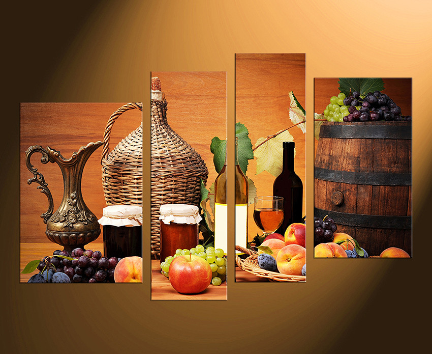 4 Piece Canvas Wall Art, Fruits Large Pictures, Wine