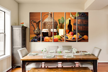 5 Piece Canvas Wall Art Dining Room Huge Print Wine Large Pictures