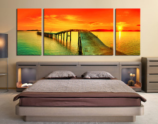 3 piece large pictures, panoramic multi panel canvas, orange sea huge canvas art, sunset art, bedroom canvas print