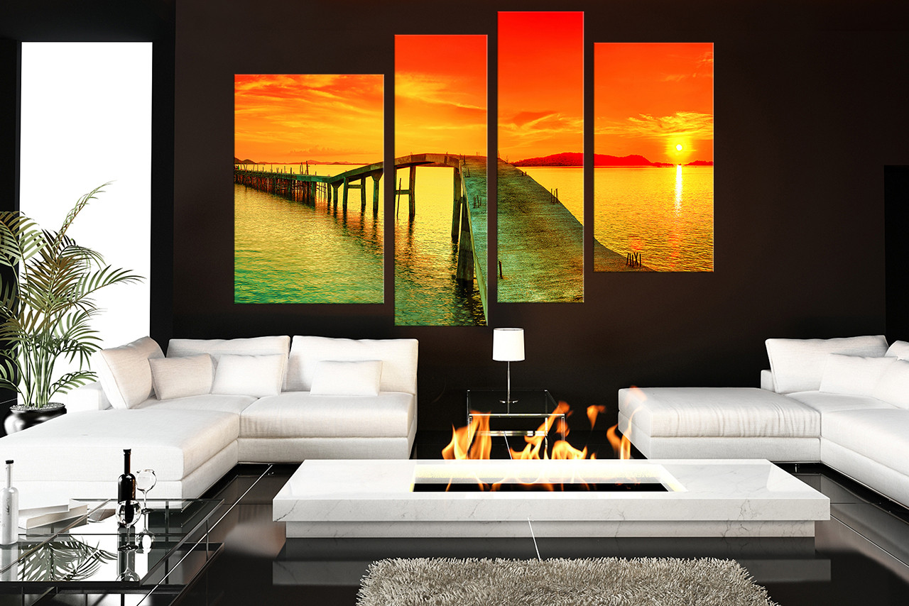 4 piece huge pictures living room photo canvas sunset wall art ocean multi