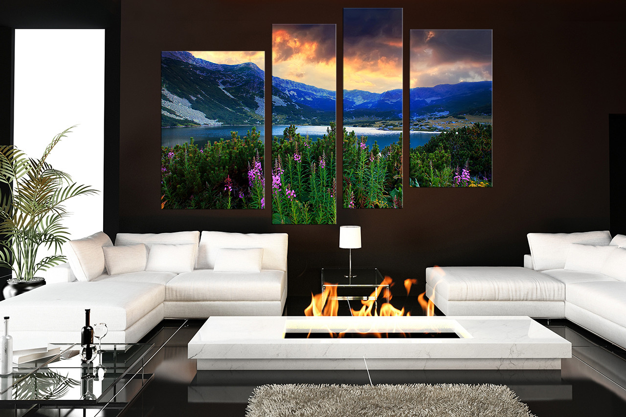 Large Paintings For Living Room 4 Piece Artwork Landscape Large Pictures Blue Photo Canvas