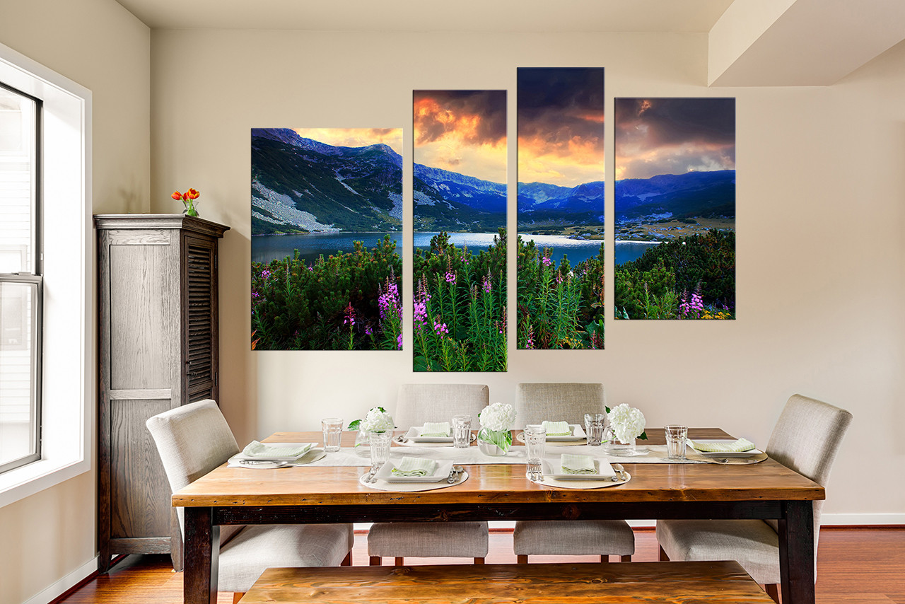Nature Wall Decor 4 piece artwork, landscape large pictures, blue photo canvas