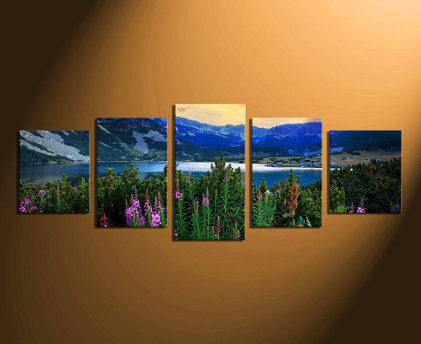 5 Piece Multi Panel Art, Landscape Canvas Print, Blue Artwork ...