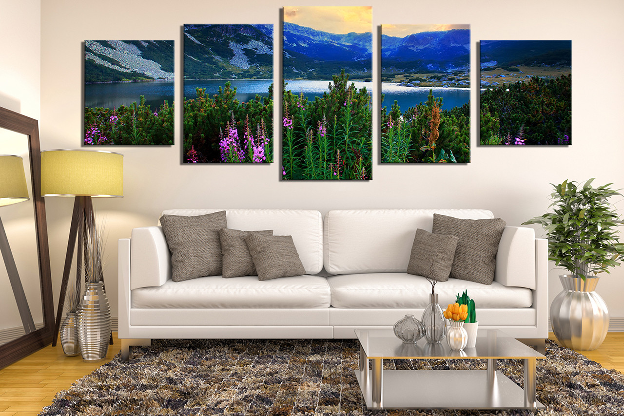 Nature Canvas Wall Art 5 piece multi panel art, landscape canvas print, blue artwork