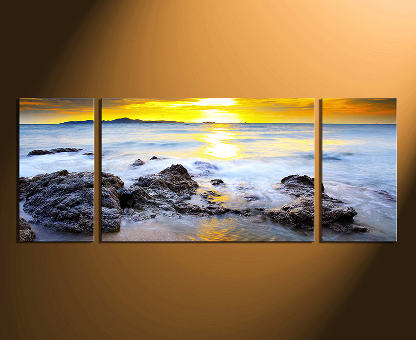 3 Piece Canvas Wall Art, Yellow Sky Panoramic Large Pictures, Ocean ...