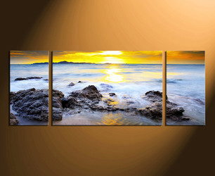 3 piece huge pictures, home decor, sunset multi panel art, yellow artwork, ocean wall art