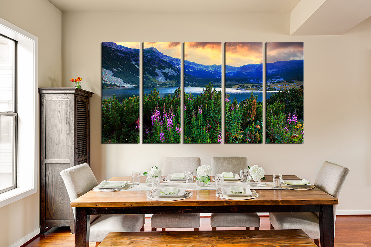 Charmant 5 Piece Canvas Wall Art, Dining Room Artwork, Landscape Multi Panel Canvas,  Mountain