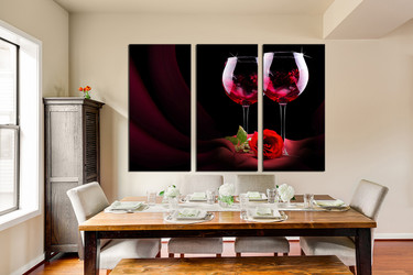 3 piece multi panel canvas, dining room canvas photography, red wine huge pictures, wine canvas print