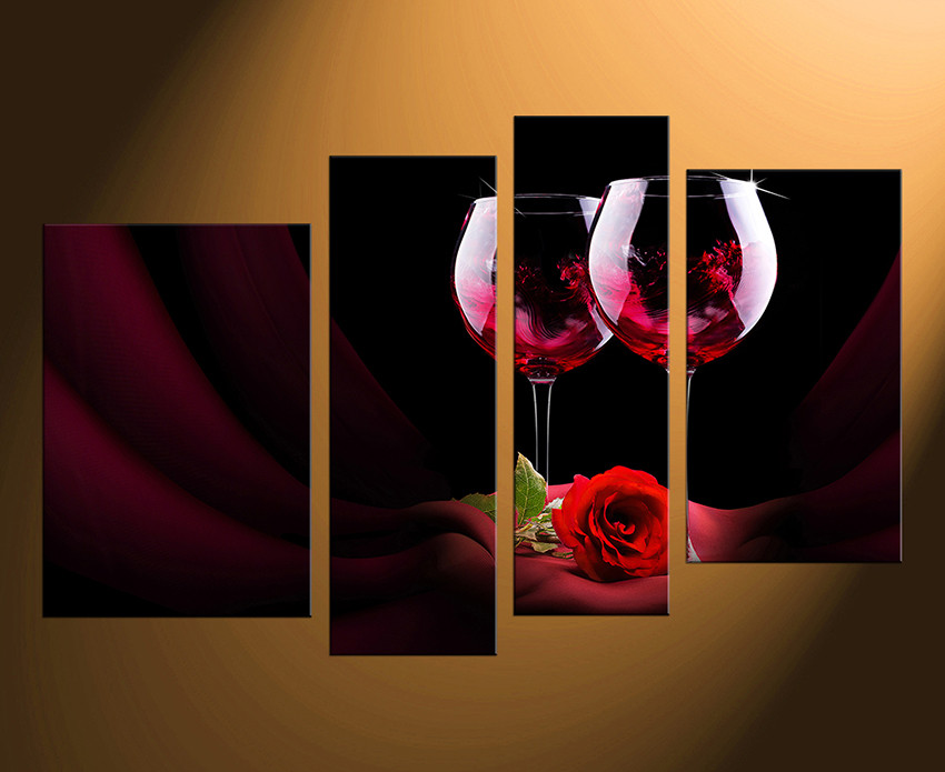 Superb 4 Piece Large Pictures, Home Decor, Red Wine Multi Panel Canvas, Rose Floral