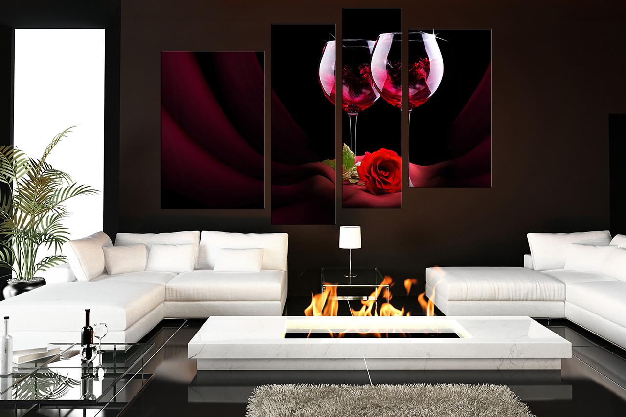 4 Piece Canvas Wall Art, Wine Wall Decor, Rose Canvas Print, Wine ...