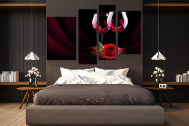 4 piece photo canvas, bedroom canvas photography, floral multi panel art, wine group canvas, wine art