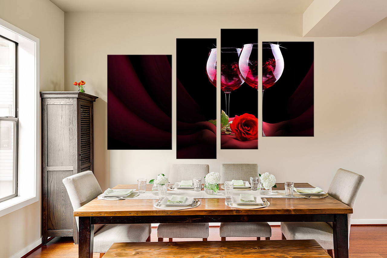 Red Dining Room Wall Decor 4 piece canvas wall art, wine wall decor, rose canvas print, wine