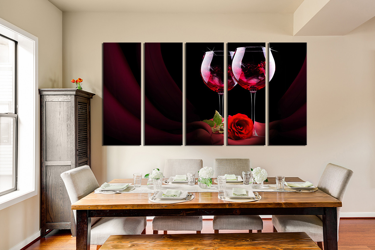 Piece Huge Canvas Print Red Wine Photo Canvas Rose Artwork