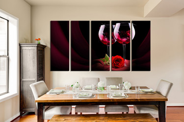 5 piece canvas wall art, dining room canvas print, floral huge canvas art, wine multi panel art, wine art
