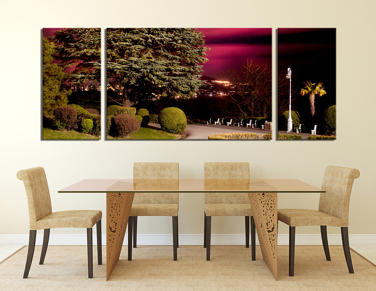 3 piece huge canvas print scenery canvas wall art green for Canvas dining