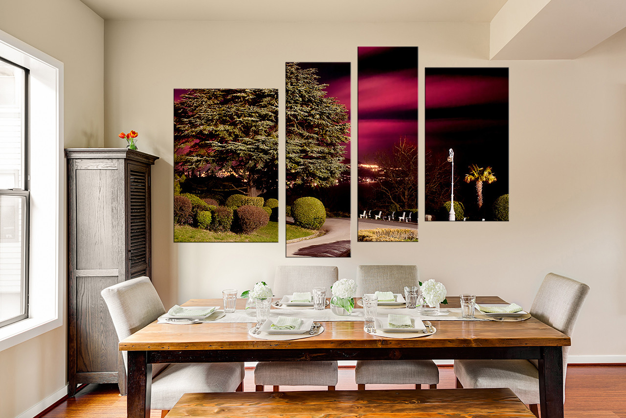 4 Piece Canvas Art Prints Dining Room Wall Decor Scenery Group Green