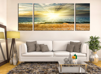 3 Piece Canvas Wall Art, Yellow Sunrise Wall Decor, Living Room Canvas  Print,