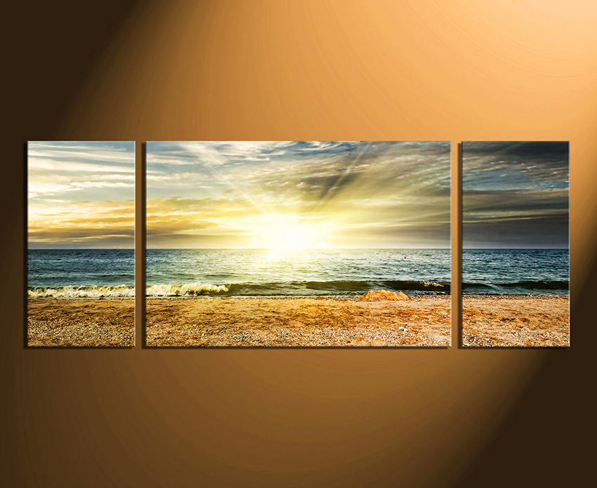 3 Piece Multi Panel Canvas, Yellow Canvas Wall Art, Panoramic Ocean ...
