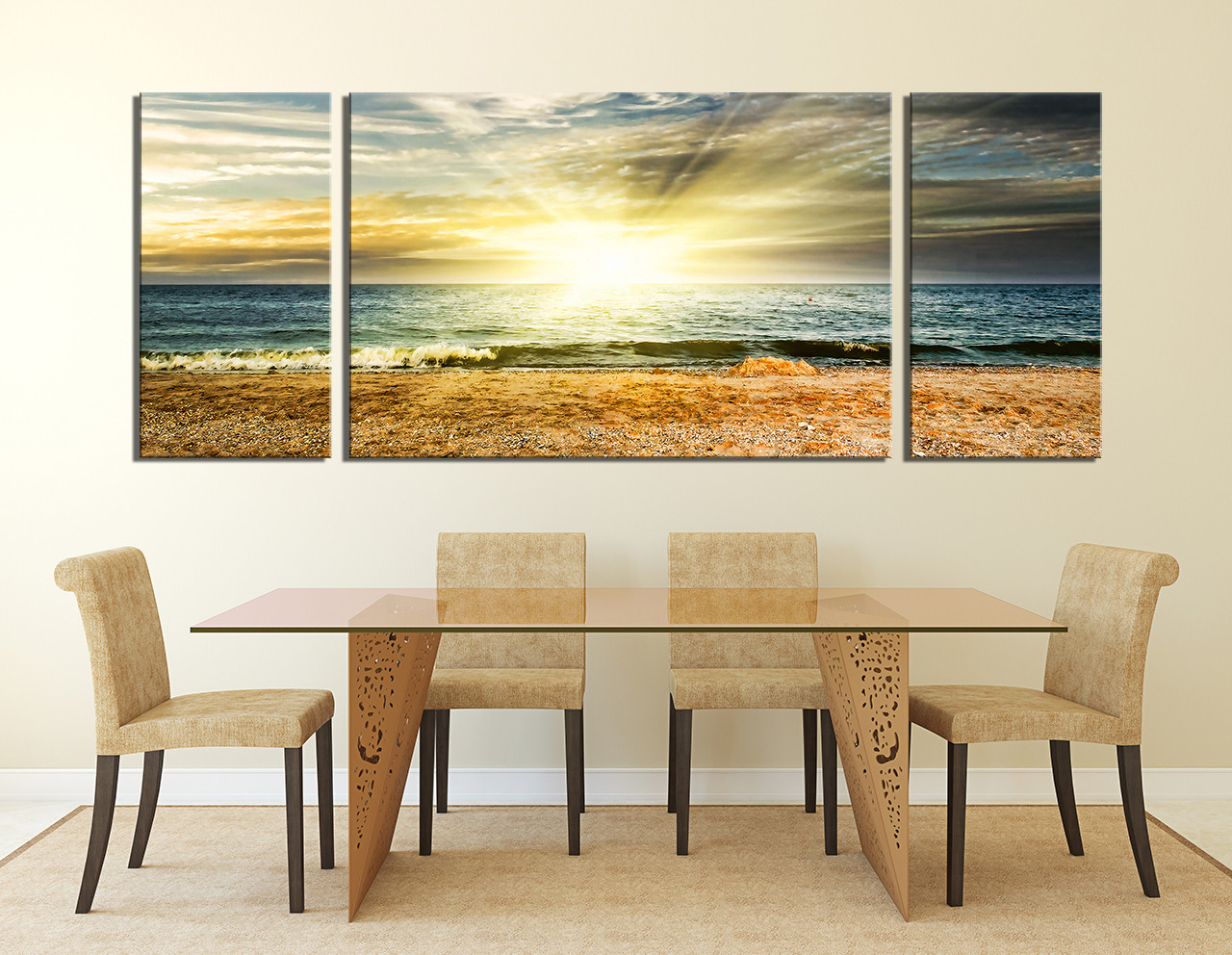 3 Piece Huge Canvas Print, Dining Room Art, Sunshine Multi Panel Art, Ocean