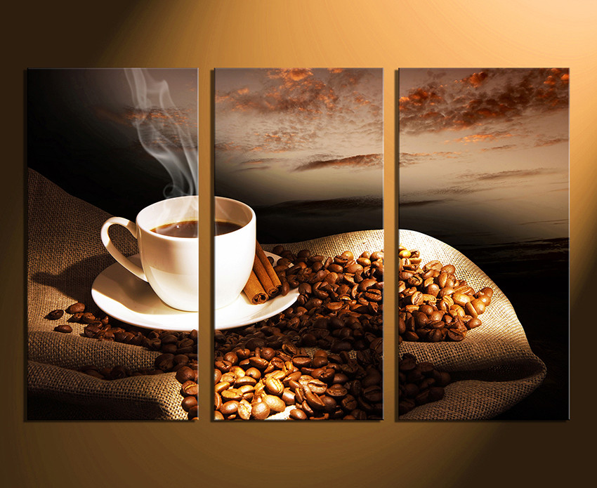 3 Piece Canvas Wall Art, Coffee Wall Decor, Brown Canvas Photography ...