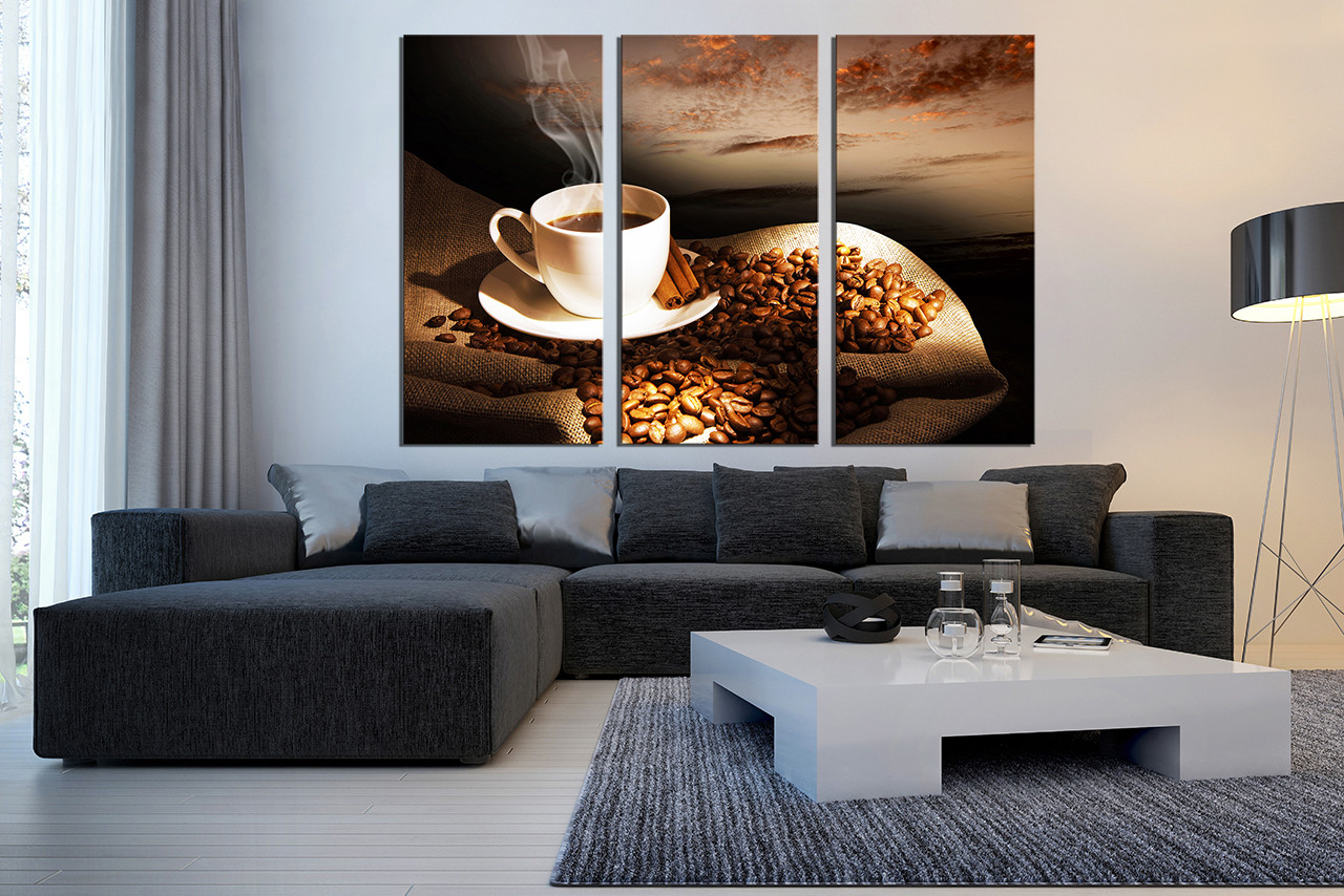 3 Piece Wall Decor, Living Room Canvas Print, Coffee Large Pictures, Coffee  Cup