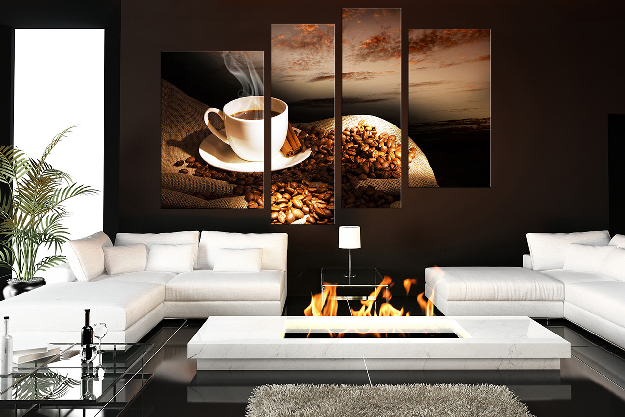 4 piece canvas wall art coffee beans huge canvas print for Kitchen decoration piece