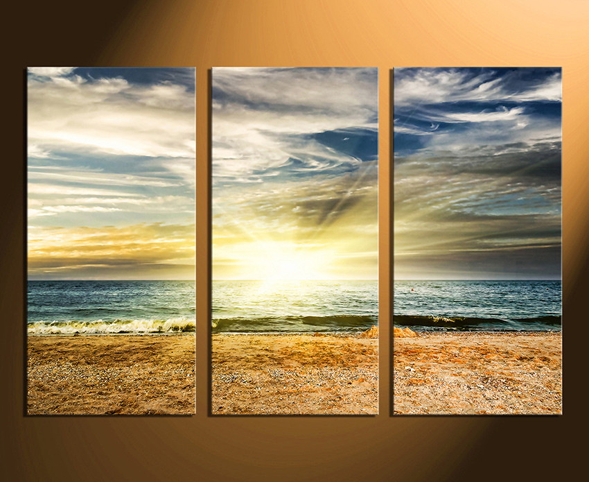 3 Piece Huge Pictures, Yellow Multi Panel Canvas, Ocean Canvas ...