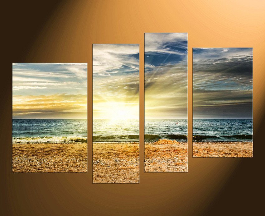 4 Piece Large Canvas, Yellow Sea Canvas Photography, Ocean Multi ...