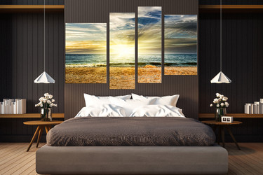4 piece canvas wall art, yellow multi panel canvas, bedroom wall decor, sea artwork, ocean wall art