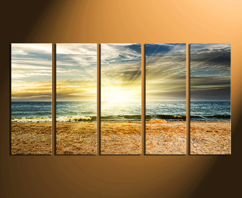 5 Piece Wall Decor, Ocean Multi Panel Canvas, Sea Huge Canvas Print ...