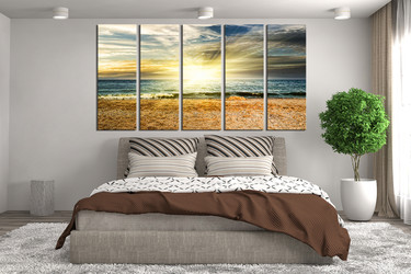 5 piece photo canvas, waves canvas art prints, bedroom large pictures, ocean huge canvas print, yellow artwork