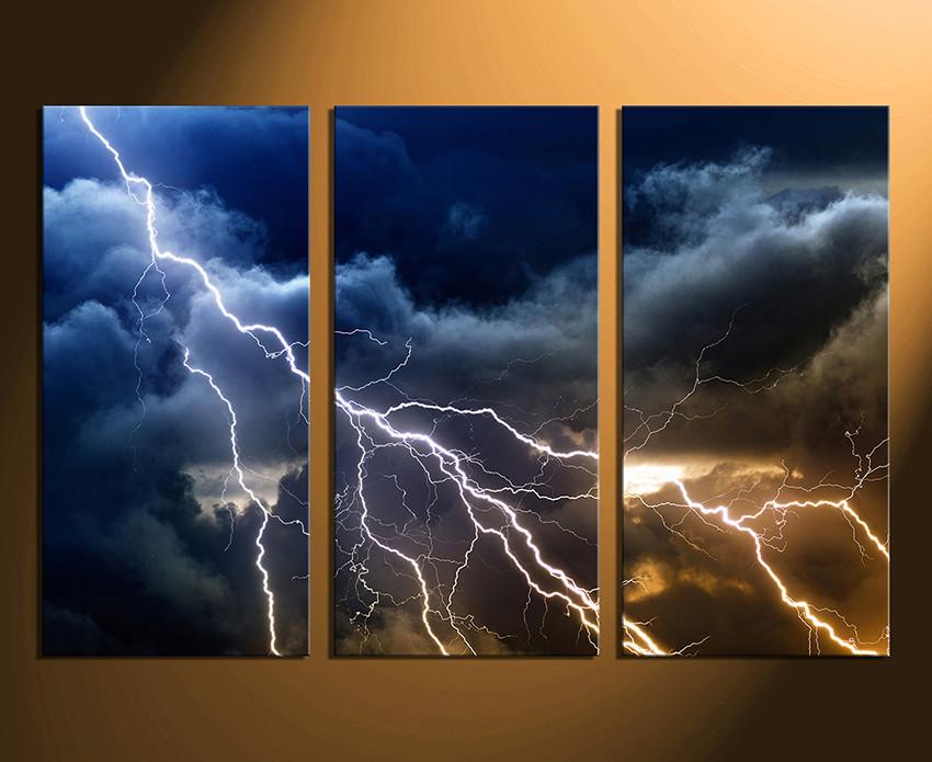 3 Piece Wall Decor, Thunderstorm Multi Panel Canvas, Blue Canvas ...