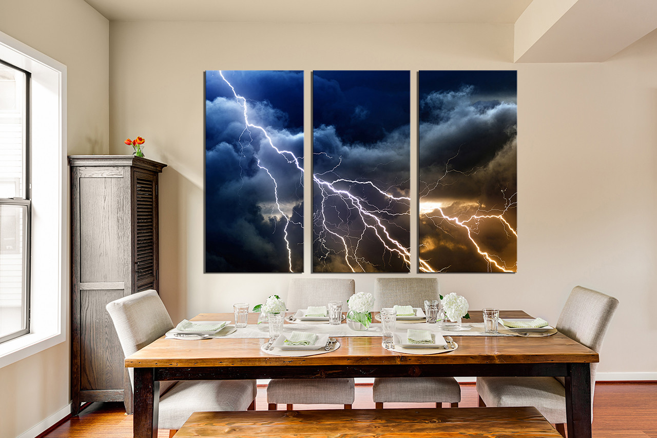 3 piece wall decor, thunderstorm multi panel canvas, blue canvas