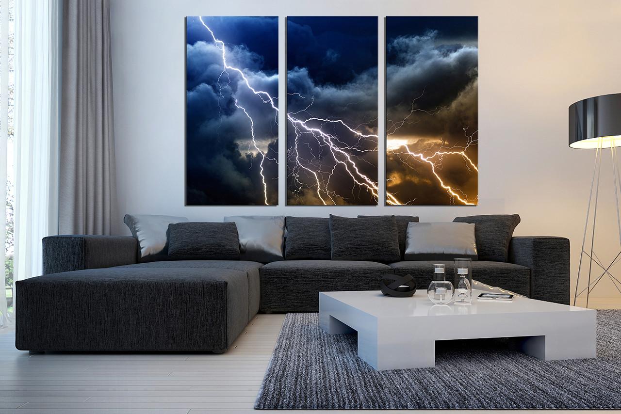 Living Room Artwork Decor 3 Piece Wall Decor Thunderstorm Multi Panel Canvas Blue Canvas
