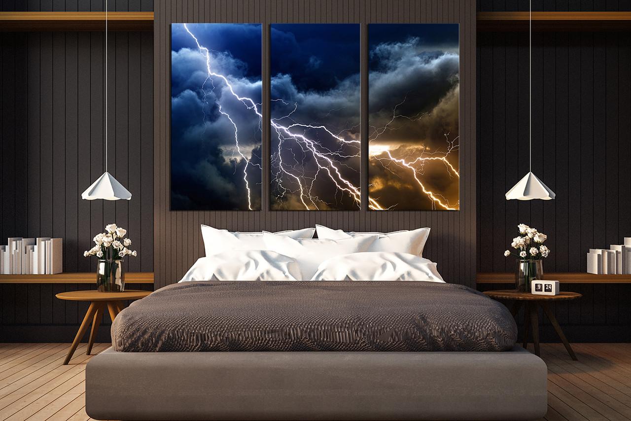 Wall Decor Canvas 3 piece wall decor, thunderstorm multi panel canvas, blue canvas