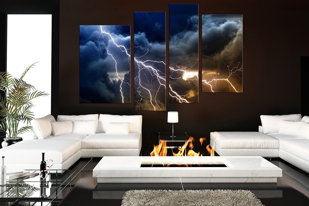 4 Piece Art, Living Room Photo Canvas, Thunderstorm Canvas Photography,  Blue Large Pictures Part 46