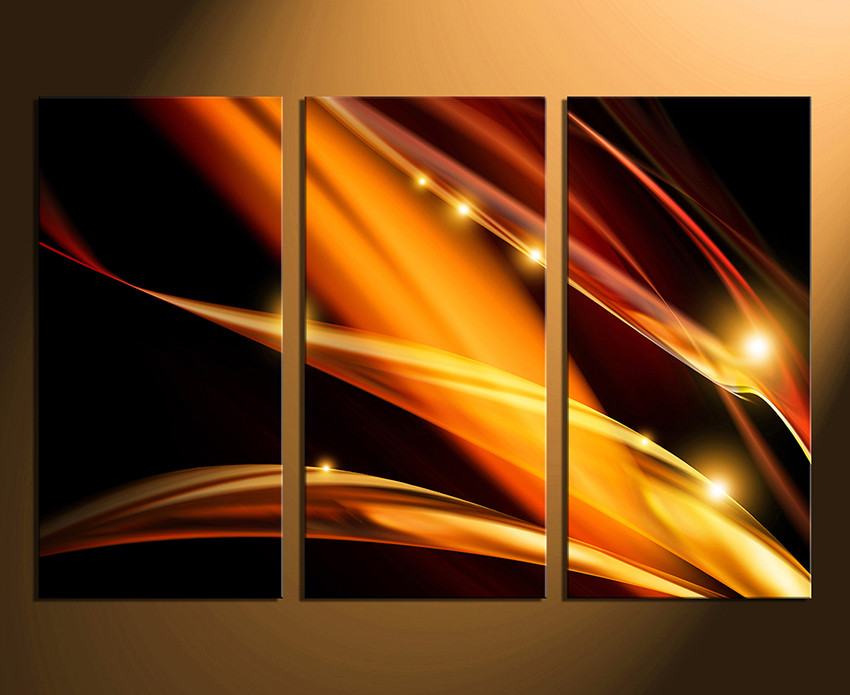 Abstract Canvas Wall Art 3 piece canvas photography, modern multi panel canvas, orange huge
