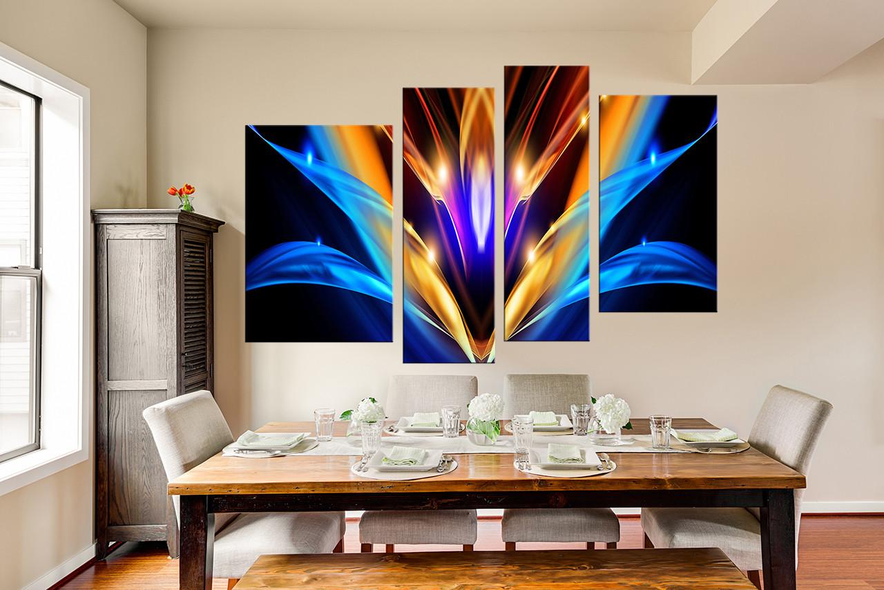 4 Piece Canvas Wall Art, Dining Room Wall Art, Modern Wall Art, Abstract